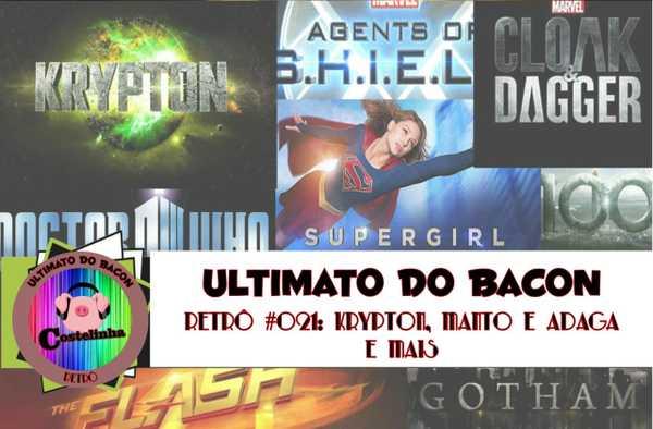 arte de seriados Krypton, Supergirl, Flash, Manto e Adaga, Gotham e Agentes da S.H.I.E.L.D.