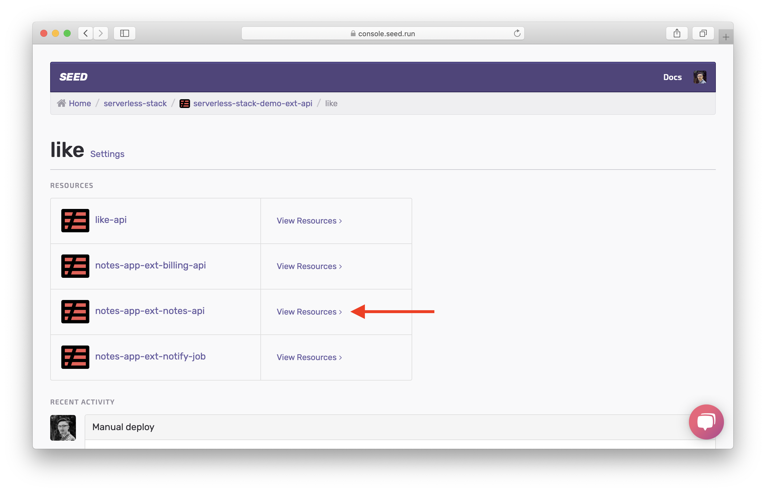 Select View Resources in feature stage