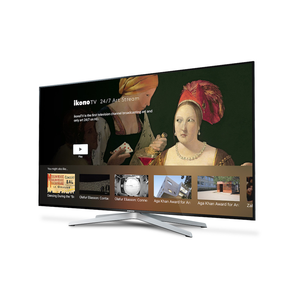 A TV with ikono app showing