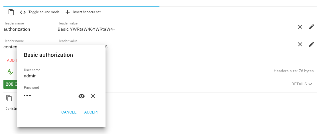 Create authorization header