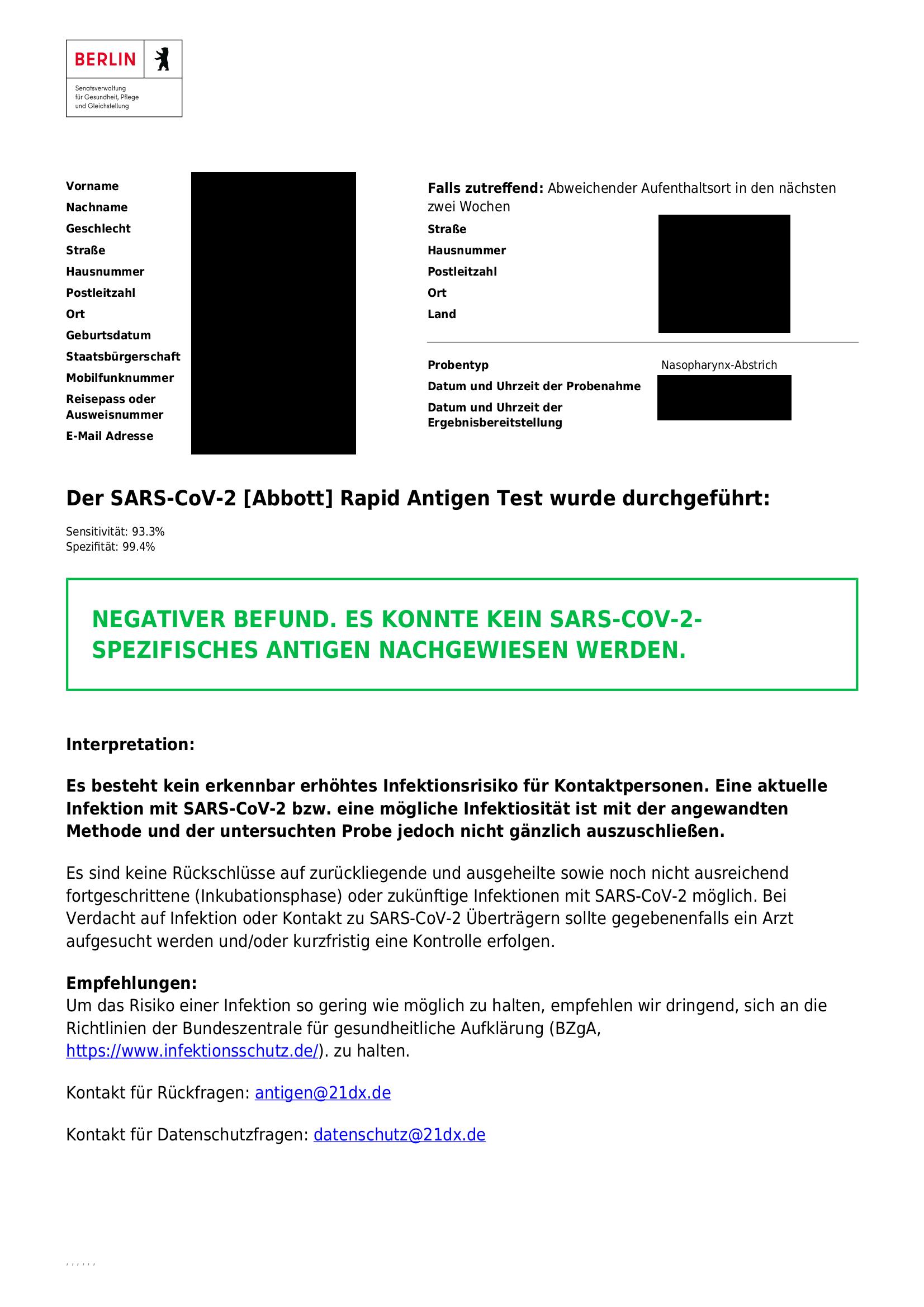 Negatives Testergebnis als PDF