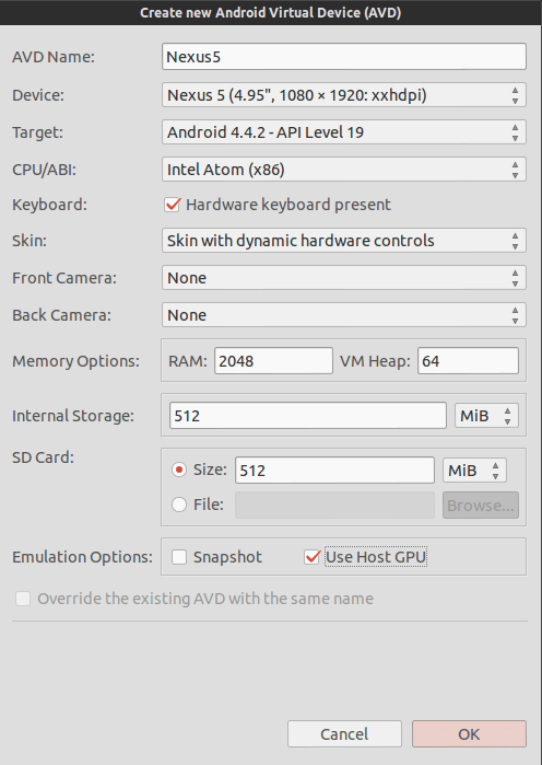 Create new Android Emulator
