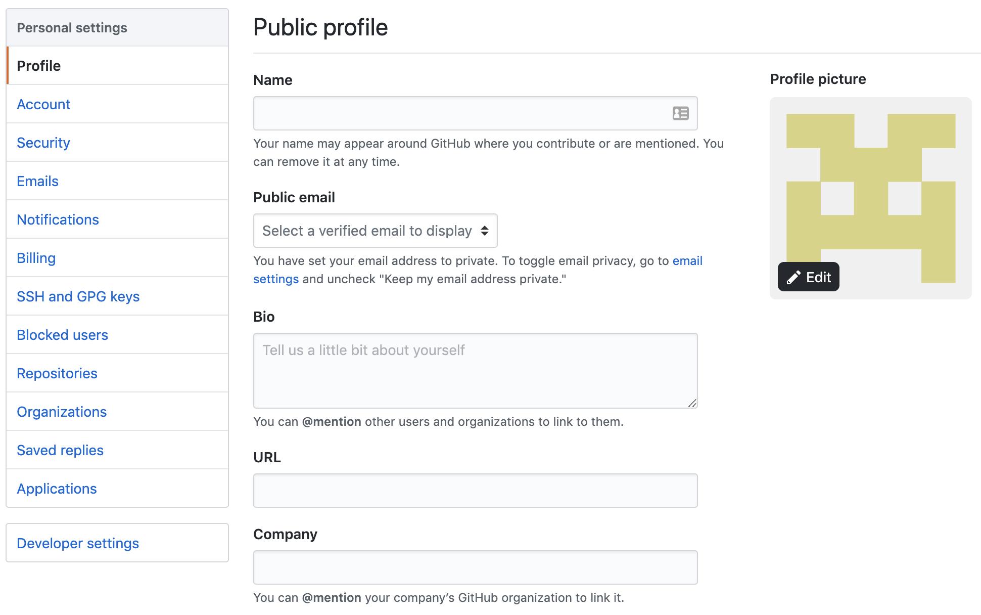 GitHub settings page