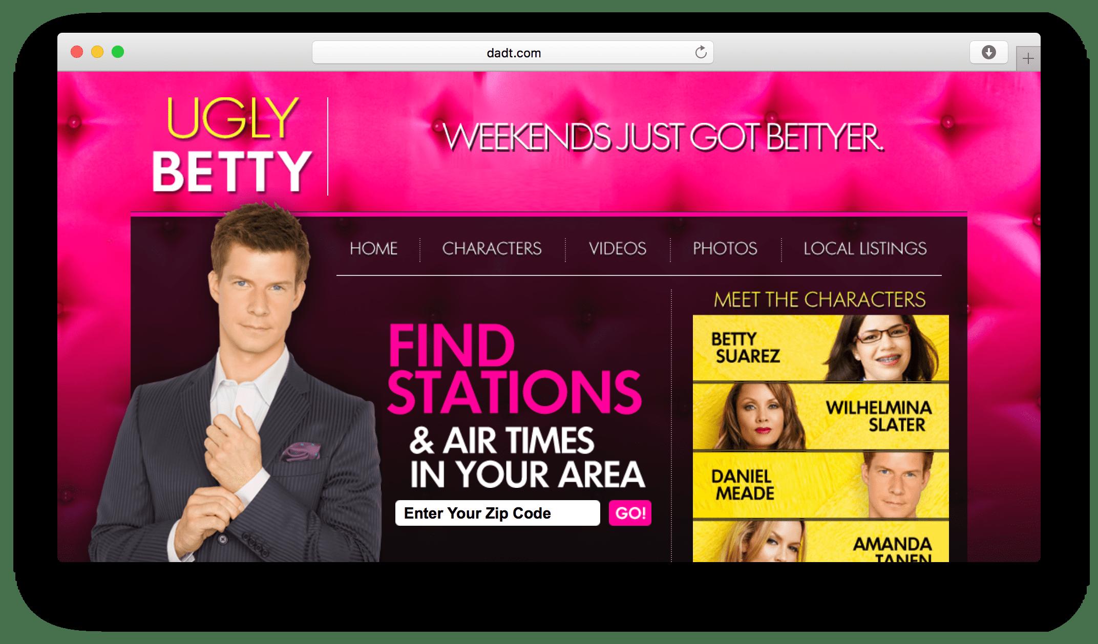 Ugly Betty website screenshot