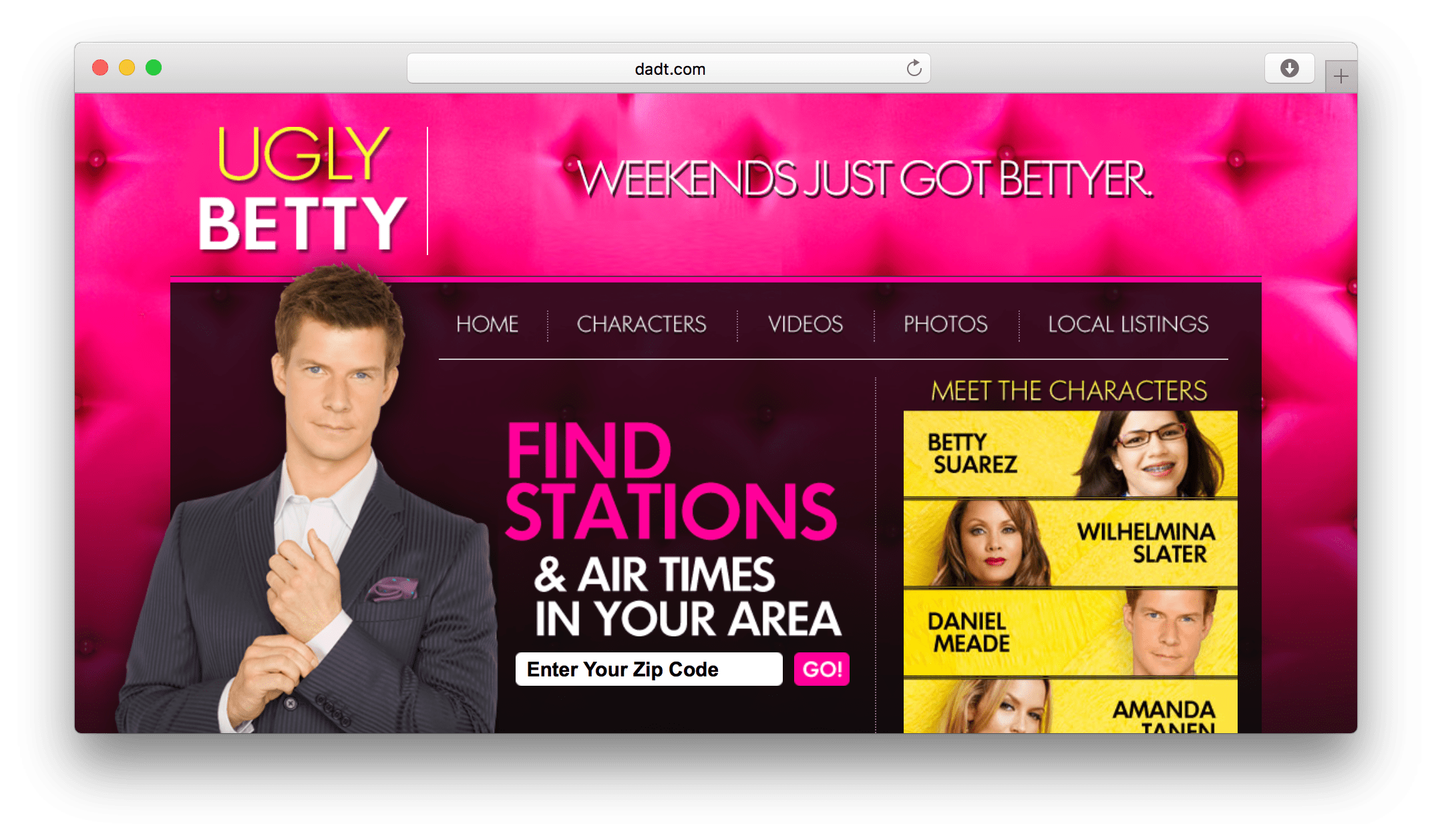 Ugly Betty website screenshot
