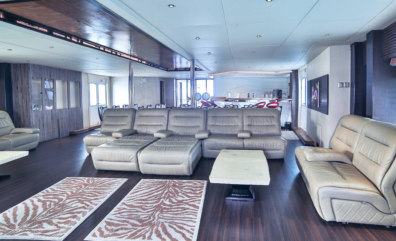 Honors Legacy luxury motor yacht surf charter for Maldives Atolls lounge area