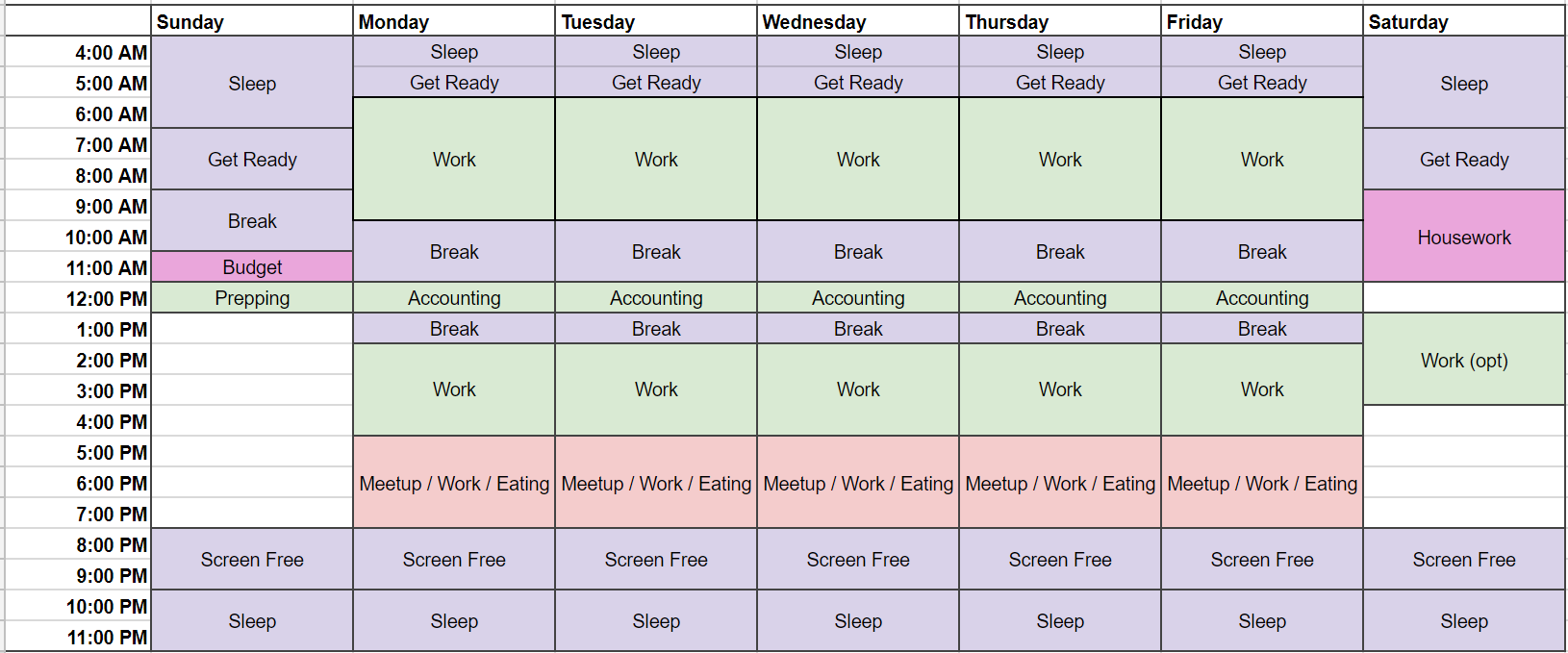 Spreadsheet I use for planning schedule, with columns for each day of the week and rows for each hour of the day.