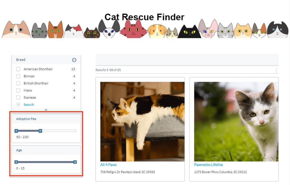 catfinder facetsforrange
