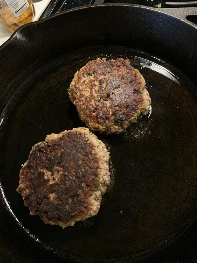 Burgers in pan