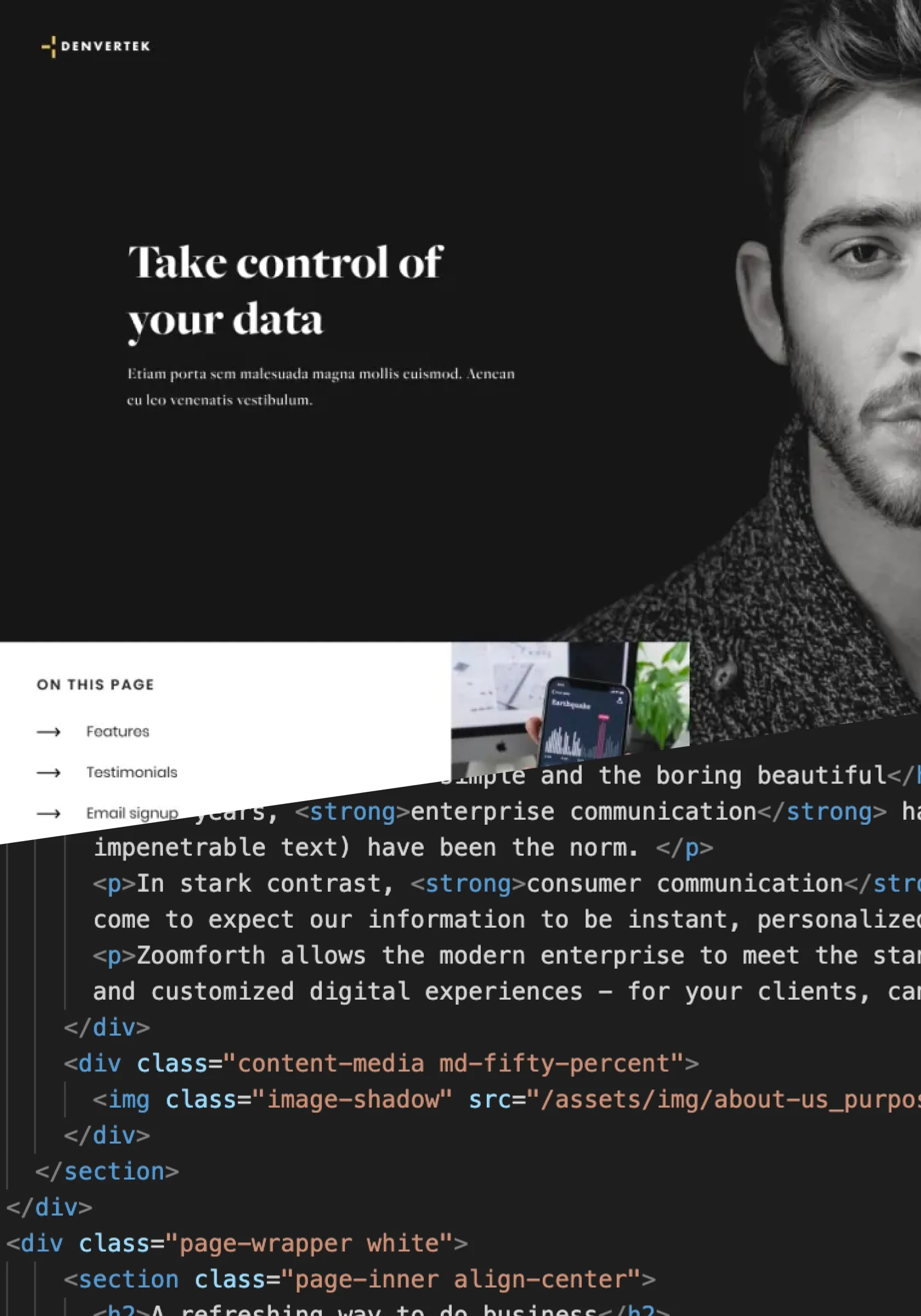 Screenshot of a microsite and of the html used to make the page