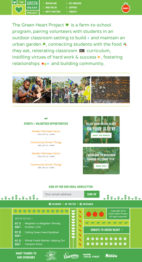 The Green Heart Project home page, with small illustrations punctuating the page tagline