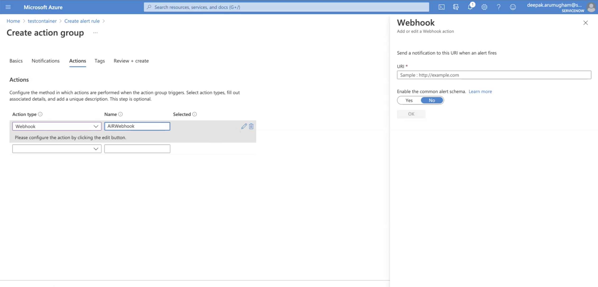The Webhook page appears.