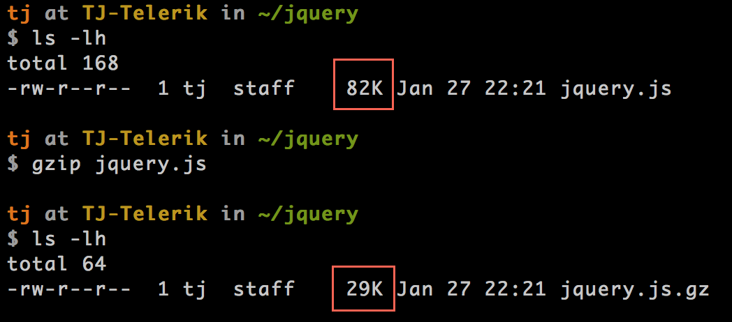Running gzip on jQuery from the command line