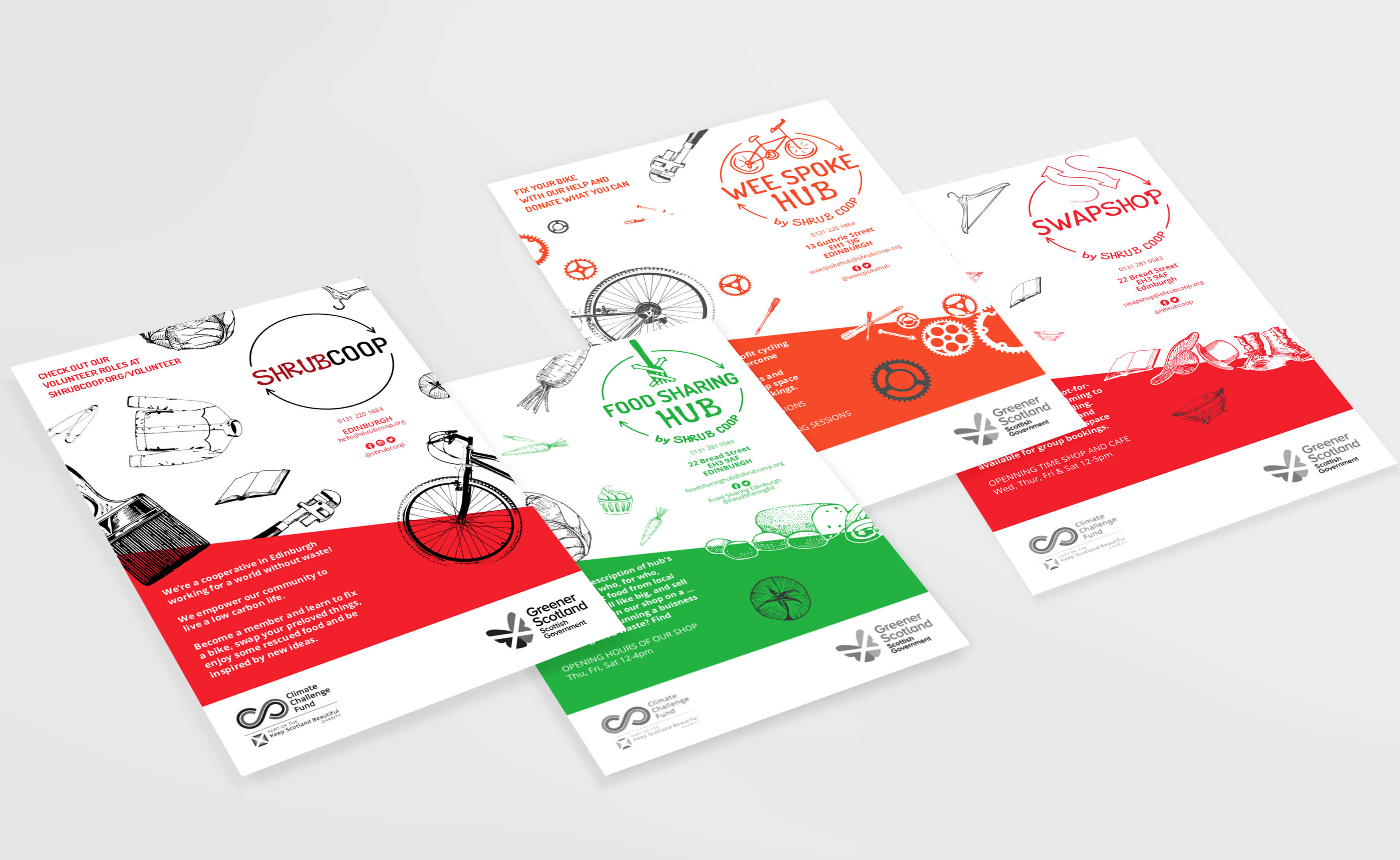 Set of four SHRUB Coop flyers with grey & black, green, red, and orange outlines. Illustrations are cropped by a colored diagonal footer.