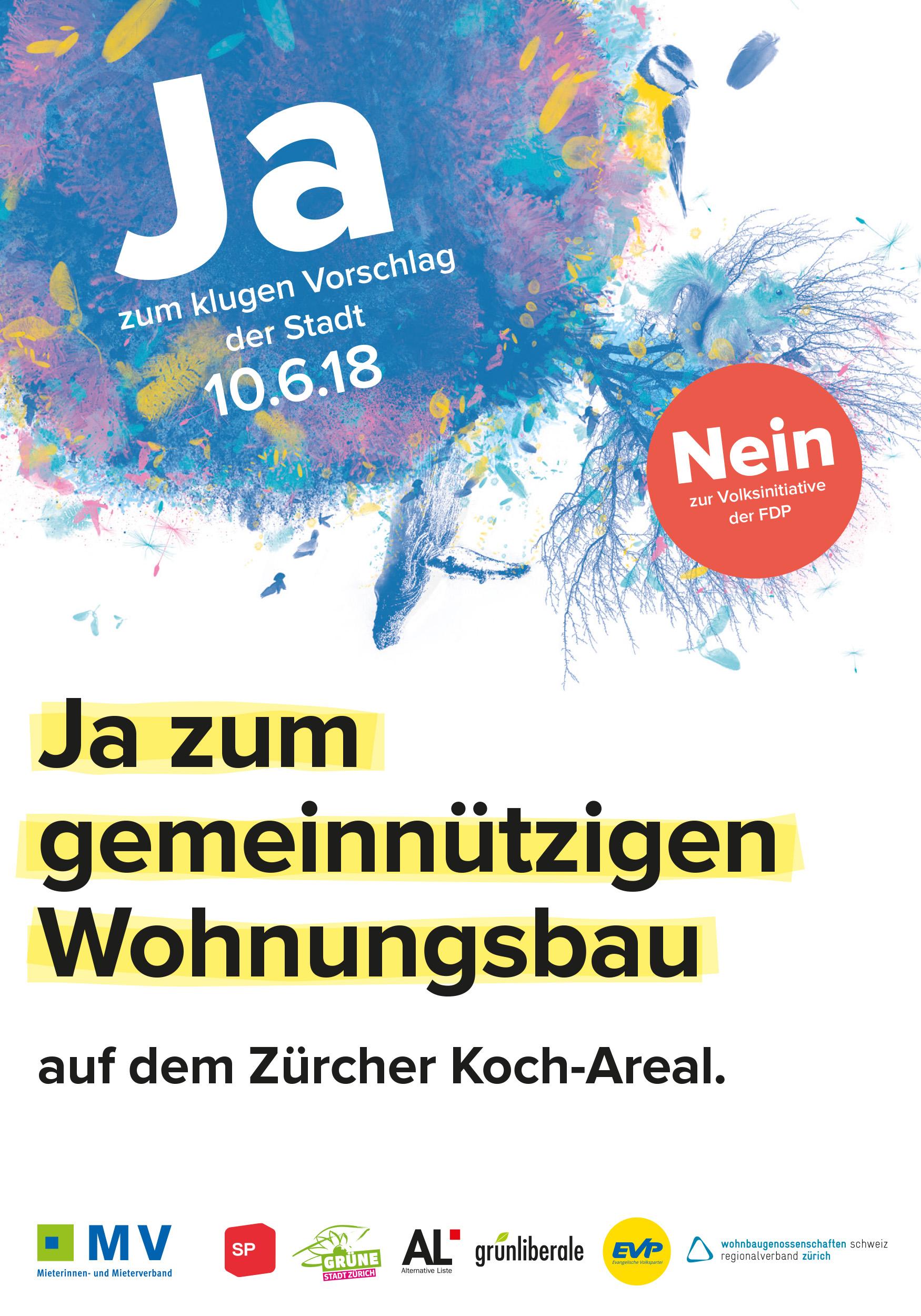 Abstimmungsplakat. Saubere Typografie, Kreis-Collage für JA-Parole.