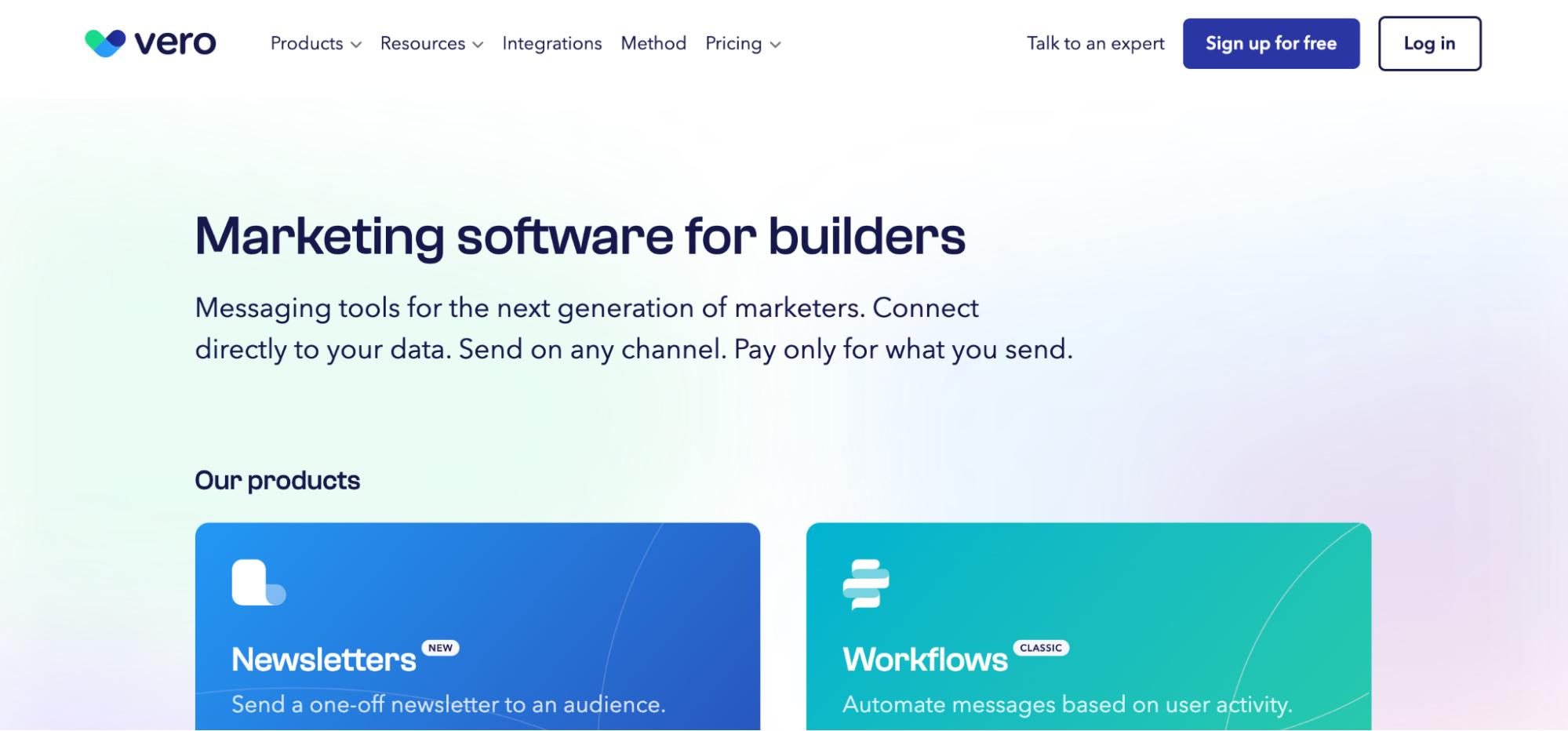 Mailchimp Alternatives: Vero Screenshot