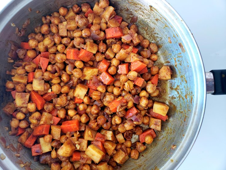 Moroccan chickpeas, carrot, and parsnip