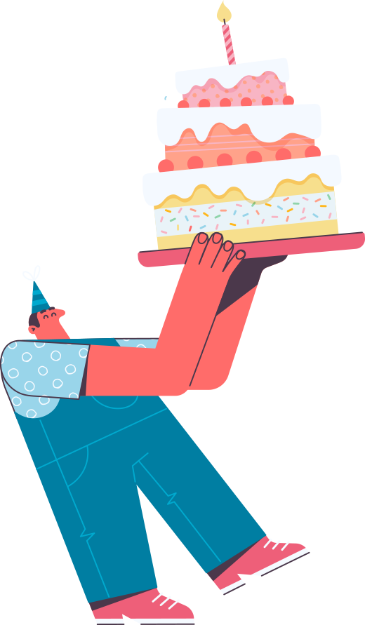 Person with birthday cake