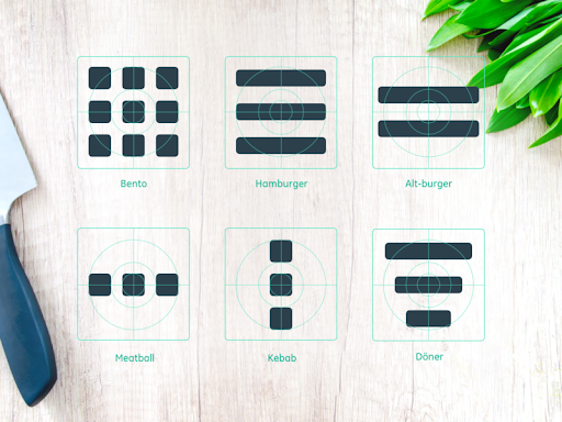 Different types of menus used in User Interface Design