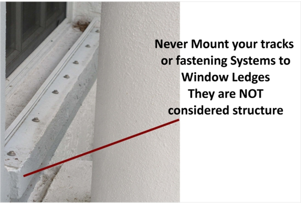 Never Mount To Sills this does not comply with Building codes