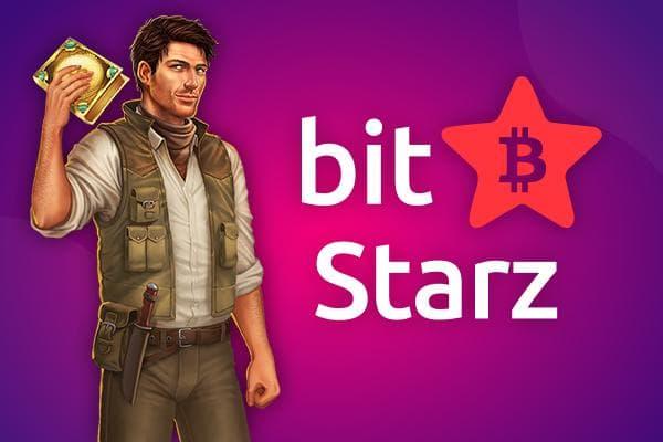bitStarz Online Casino Promo Banner mit Rich Wilde von Book of Dead Slot