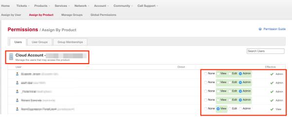 MyRackspace screenshot - layout of permissions screen