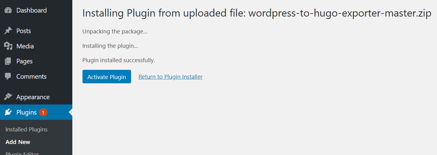 install-wordpress-hugo-plugin