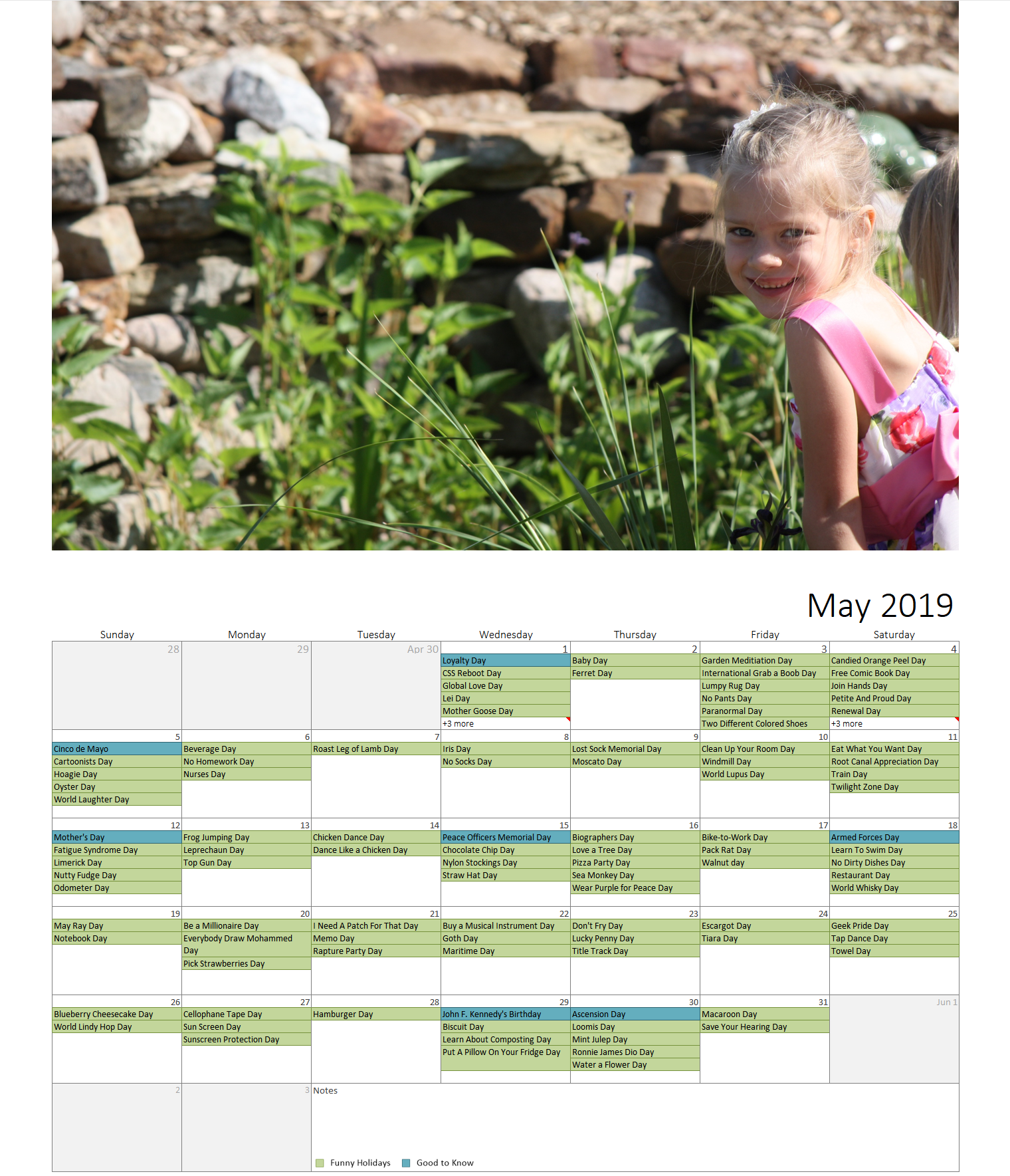 Year Photo Calendar Template