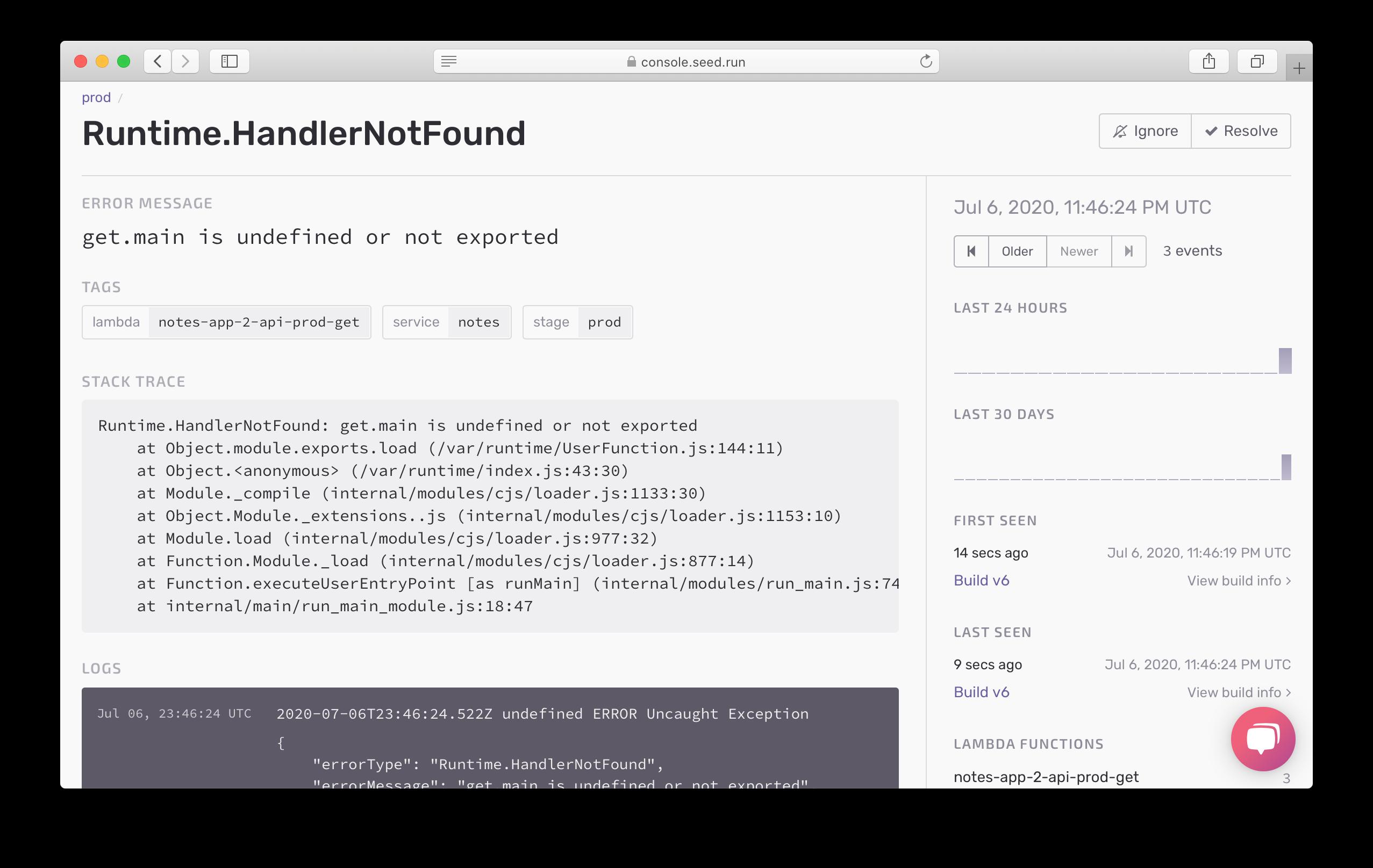 Handler error details in Seed