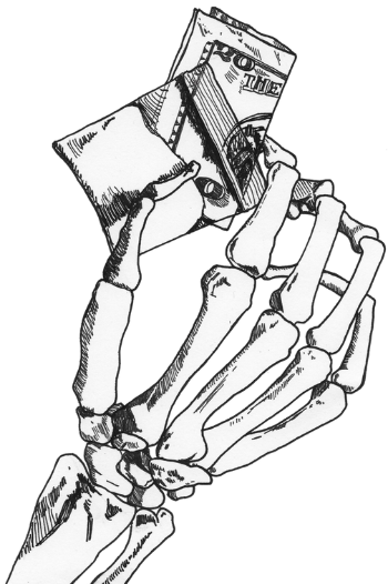 Skeleton Hand with Money Sketch