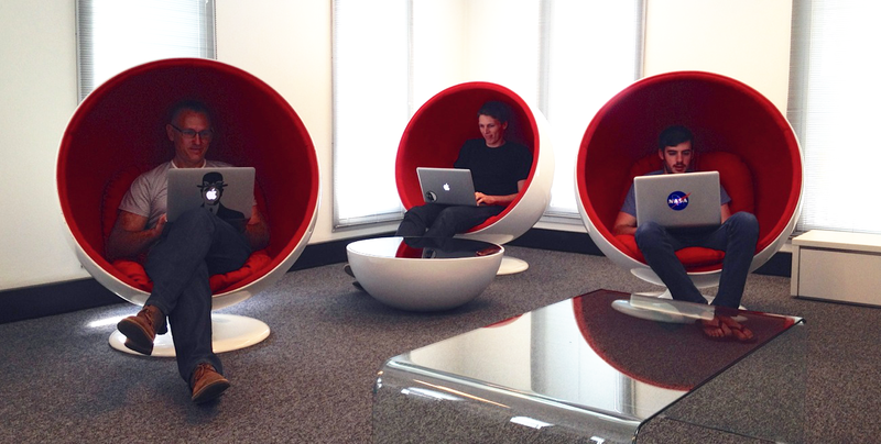 Eggheads in egg chairs