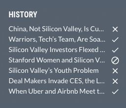 History in the web app
