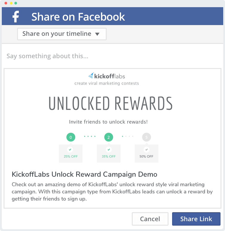 Your leads share your campaign with their friends on facebook.