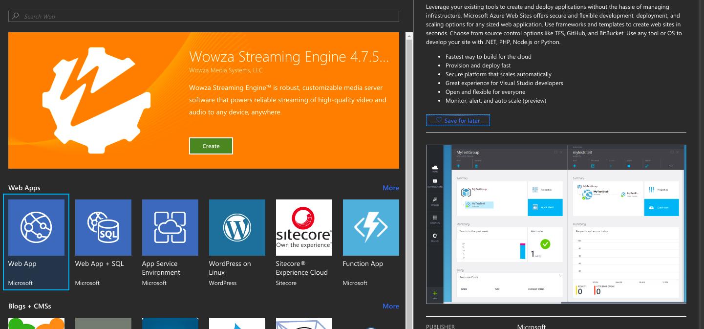Screenshot of the Azure portal create web app screen.