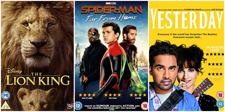 The Lion King, Spider-Man: Far From Home, Yesterday