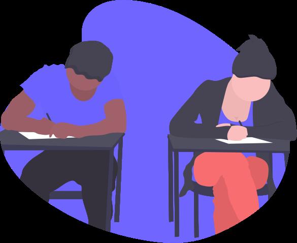 Desenho duas pessoas estudando