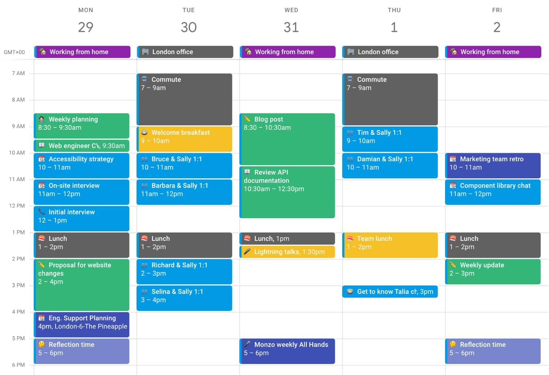 Example calendar view