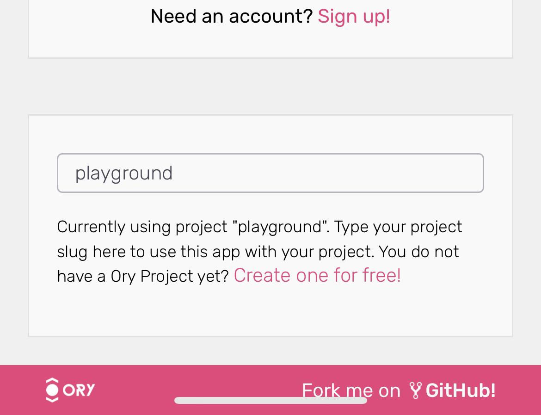 Enter the Project Slug in the Ory Profile App