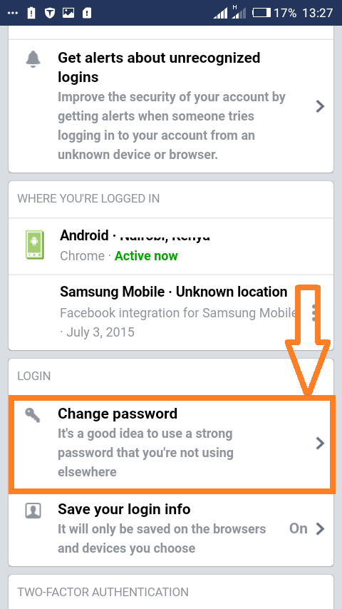 "Changing password on Facebooks mobile website: Select ""Change password"" to continue."