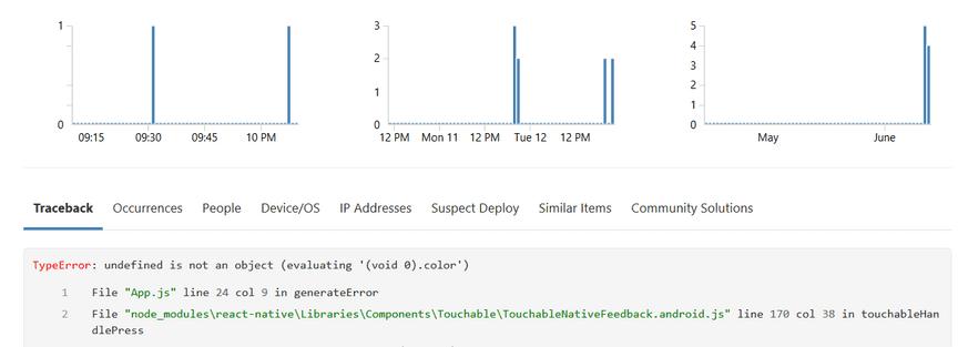 Screenshot of Rollbar React Native Error Details