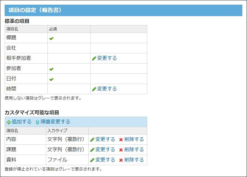 報告書の項目の設定画面の画像