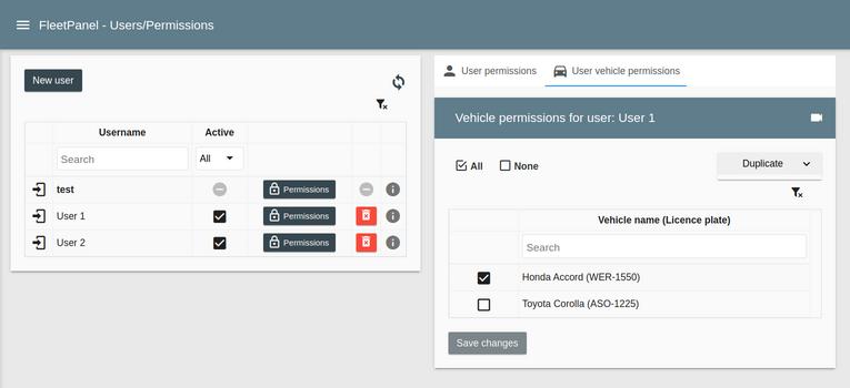 User vehicle permissions