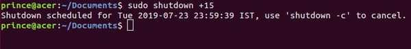 shutdown minutes command in linux