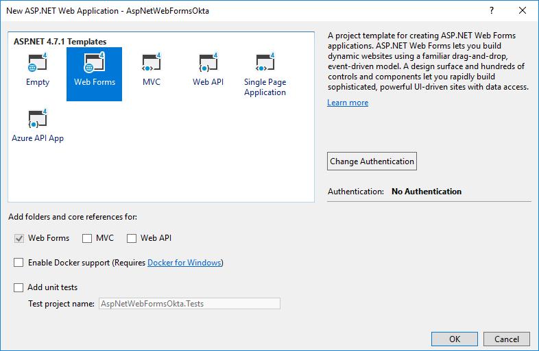 Visual Studio new webforms app dialog