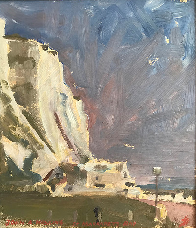 expressive painting of cliffs and sea