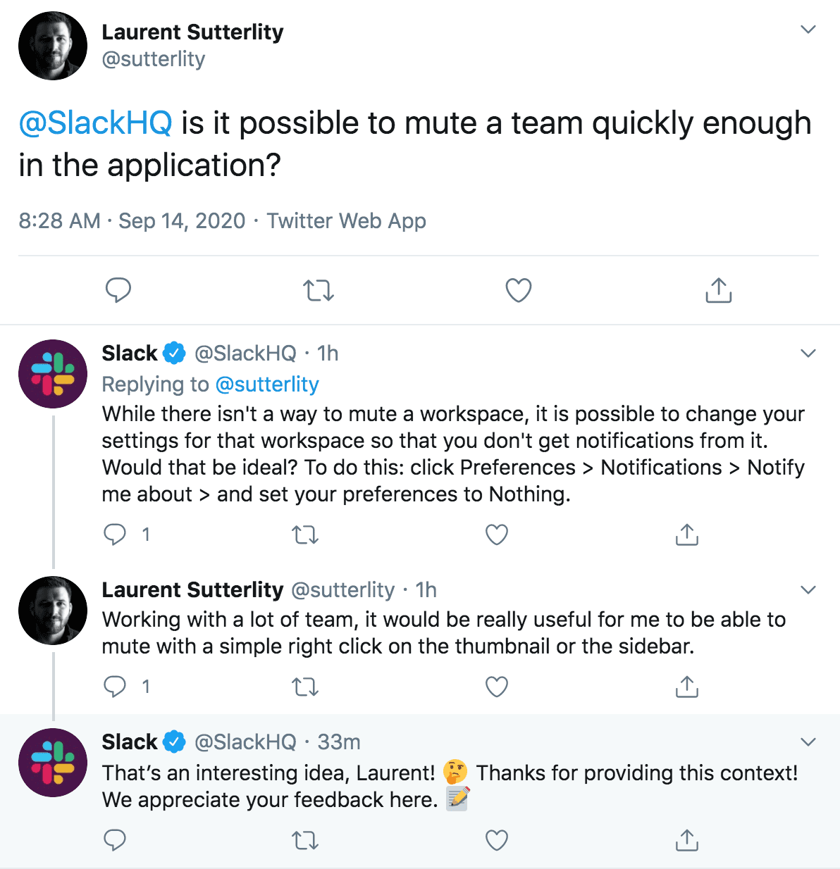 A tweet showing @SlackHQ responding to a user with advice on how to better use the application.