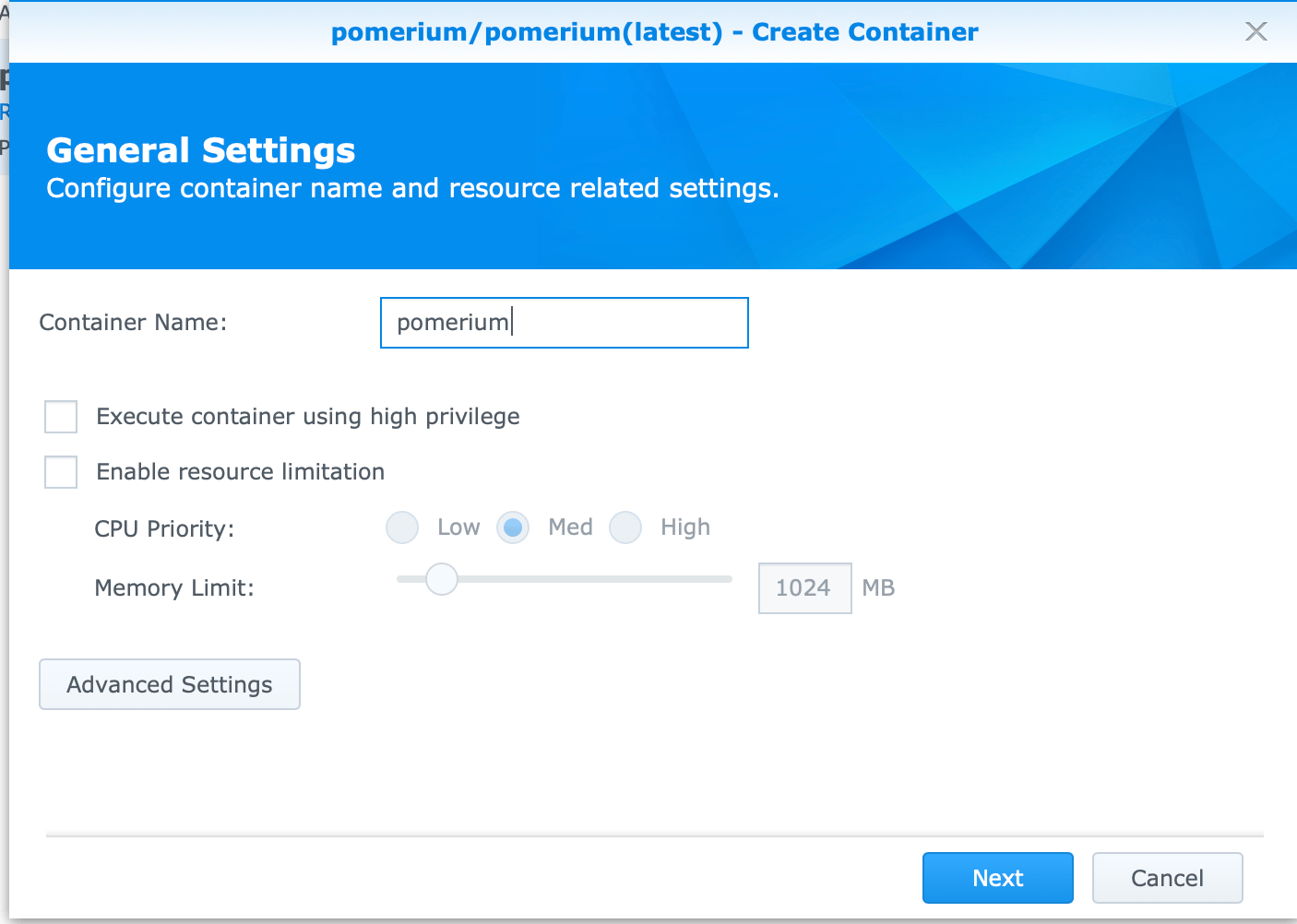 Synology pomerium create container