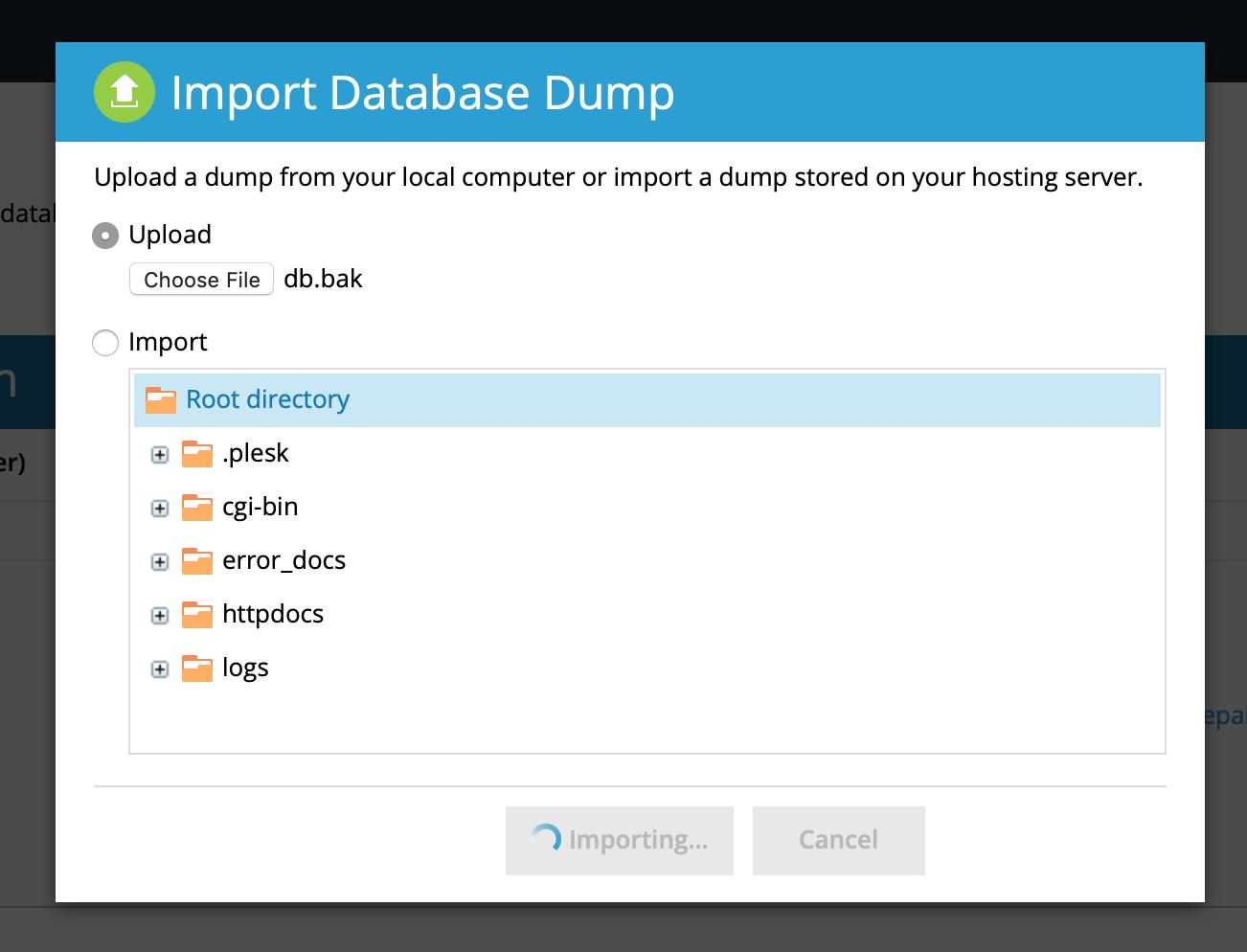 Restore Database from Backup