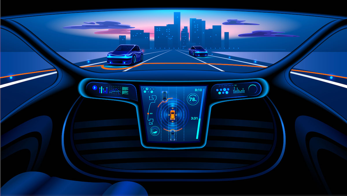 Dashboard of a futuristic car