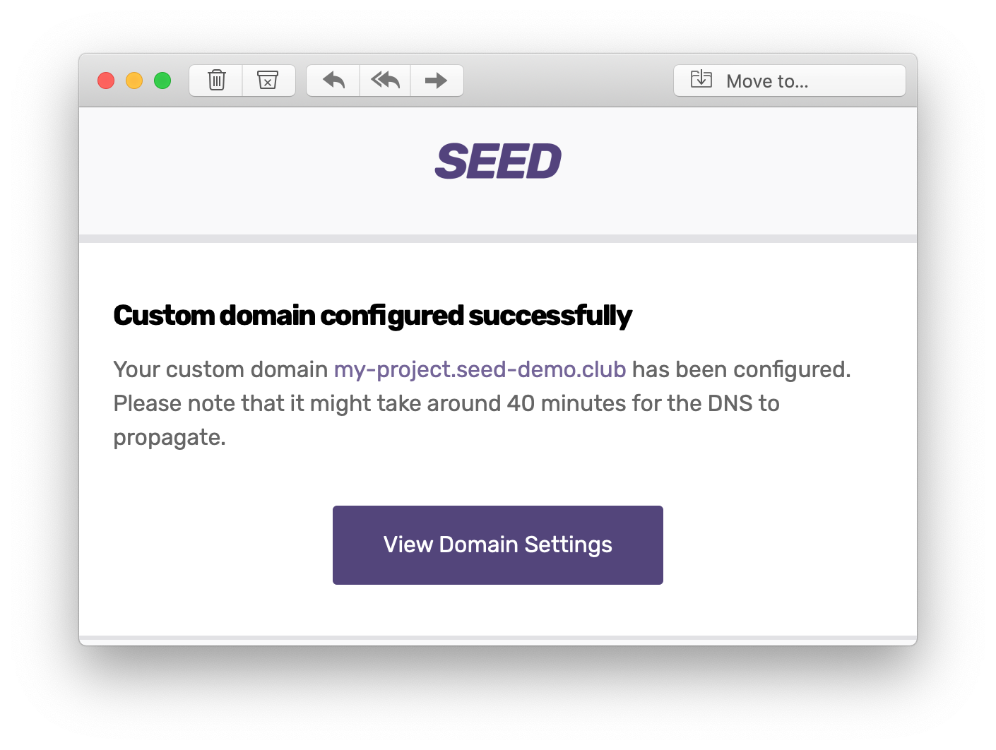 Custom domain configured notification